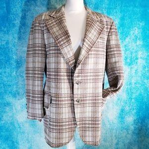 VTG 70s Men's Polyester Plaid Blazer Suit Jacket